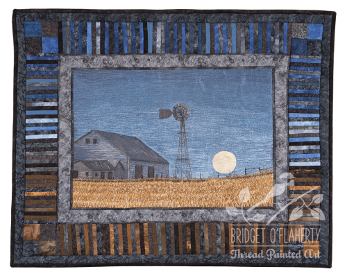 Moonlit Farm thread painting by Bridget O`Flaherty