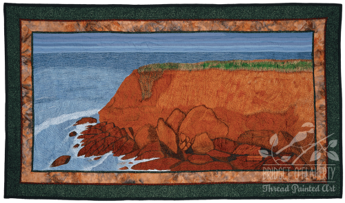 PEI: Red Rock thread painting by Bridget O'Flaherty